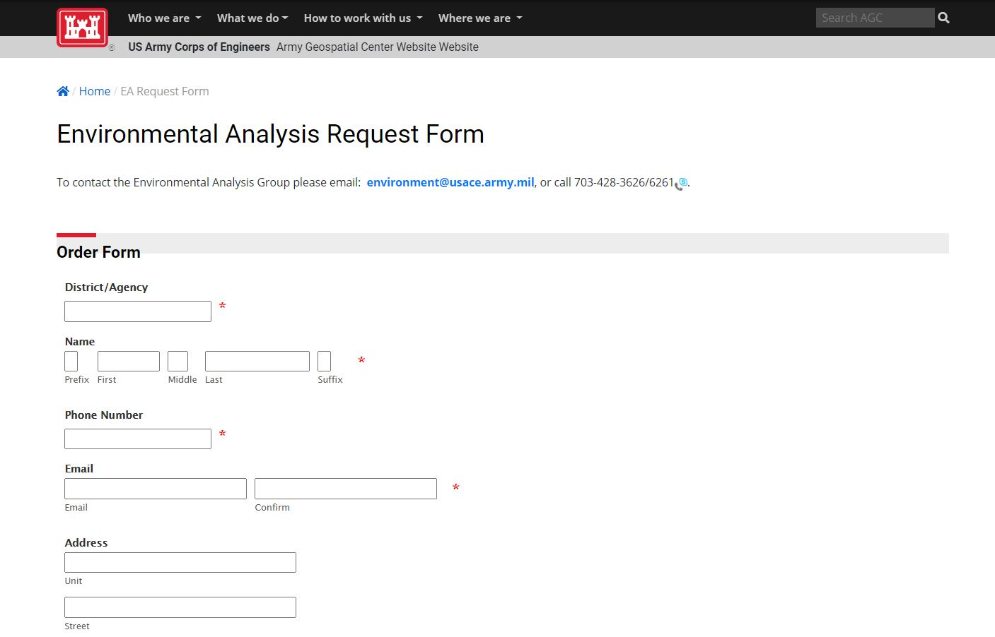 Environmental Analysis Request Form