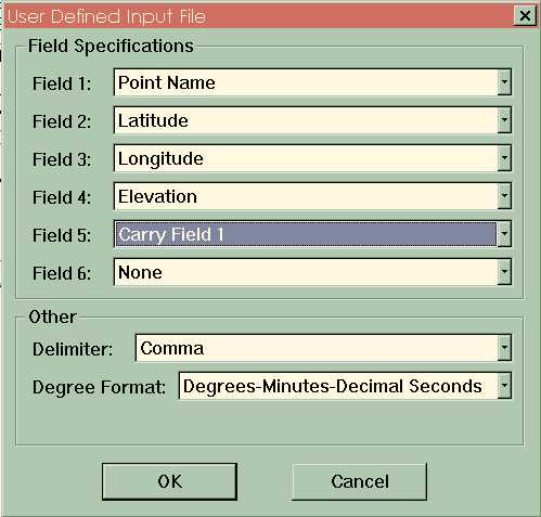 User Defined Input File